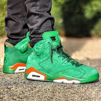 Bunchsun Air Jordan 6 Fashion Men Women Casual Sport Running Basketball Shoes Sneakers Green&Orange