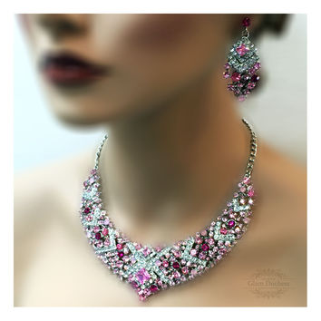 Bridal jewelry set, wedding jewelry, bib necklace earrings, Chunky crystal necklace statement, hot pink crystal jewelry set