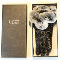"""UGG"" Women Winter Genuine Leather Gloves Fashion Brand Warm Fur Gloves"