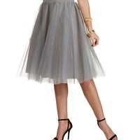 Promo-silver Tulle Darling Party Skirt