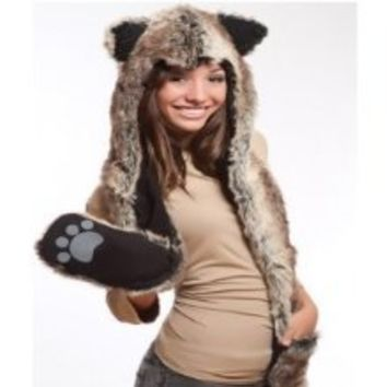 Wolf Full Hood 3in1 Hat/Scarf/Mittens Faux Fur with Fleece Lining by kewlwool© - Best Buy Shop