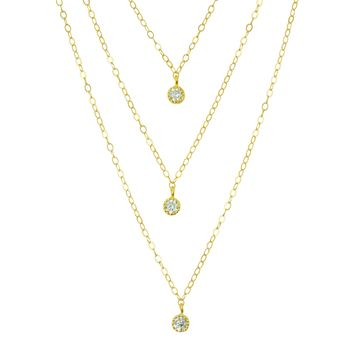 Triple Gold Layered Necklace Set