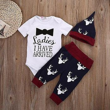 2016 Newborn Baby Boys Girls short sleeve Tops Romper+Pant+Hat Outfits Set Christmas Deer Clothes