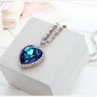 """Neoglory Made with Swarovski Elements Blue Crsytal """"The Heart of the Ocean"""" Pendant Necklace 21"""""""