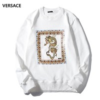 Versace Autumn And Winter Fashion New Dragon Print Women Men Long Sleeve Top Sweater White