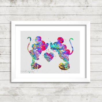 Mickey & Minnie Mouse Watercolor Print, Disney Baby Boy or Girl Nursery Room Art, Minimalist Home Decor, Not Framed, Gift, Buy 2 Get 1 Free!