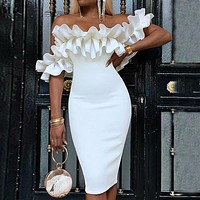 2020 new women's sexy ruffled hip dress