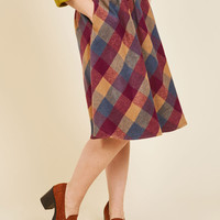 Sunday Sojourn Midi Skirt in Warm Plaid | Mod Retro Vintage Skirts | ModCloth.com