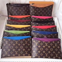 LV Louis Vuitton New fashion monogram print leather file package handbag cosmetic bag