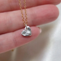 Fine SIlver Hammered Heart on 14k Gold Filled Chain, Mixed Metals, .970 Silver Tiny Dangling Heart, Minimalist, Valentine Love Jewelry