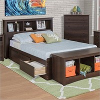 Twin XL Espresso Brown Platform Bed w/ Headboard and Storage Drawers