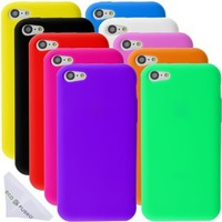 Eco-Fused Case Bundle for iPhone 5C including 10 Flexible Silicone Cases and Microfiber Cleaning Cloth (pink / hot pink / black / orange / red / blue / purple / white / green / yellow)