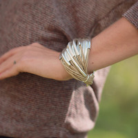Saachi Leather Pin Bracelet - Nude with Silver