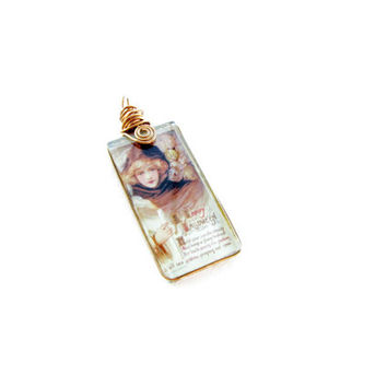 Little Victorian Witch Glass Pendant Vintage photograph Handmade Jewelry Holiday Jewelry Day of the Dead