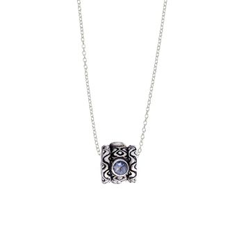 February Amethyst Sterling Silver Bead Necklace