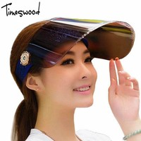 Summer Holiday Neon Sun Visors Sunvisor Party Hat Clear Plastic Cap Motor Peak Caps Anti-UV Sun Protection Bicycle Hats
