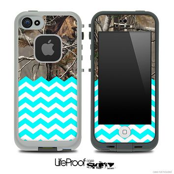 Mixed Real Camouflage and Turquoise Chevron Pattern Skin for the iPhone 5 or 4/4s LifeProof Case
