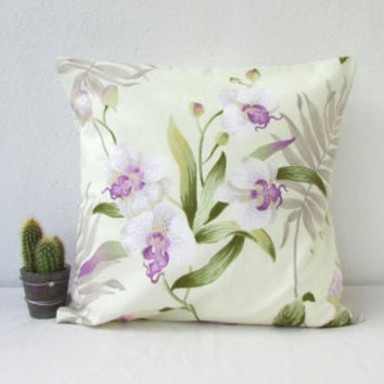 Floral cushion cover, Purple flower throw pillow, purple and green decor, John Lewis fabric, British designer fabric, Handmade in the UK