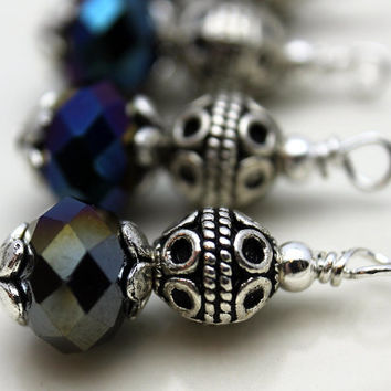 Black Mirror Ornate Bead Dangle Charm Drop Set