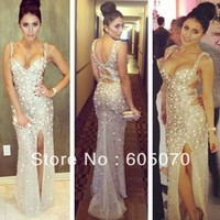 Asymmetrical Neckline Spaghetti Strap Backless Floor Length Sheath Crystal Beaded Prom Dresses 2014 Women Evening Party Dress-in Prom Dresses from Apparel & Accessories on Aliexpress.com | Alibaba Group