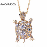 AMOURJOUX Gold Plated Rhinestones Filled Turtle Pendant Necklace Long Fashion Crystal Jewelry Necklaces for Women