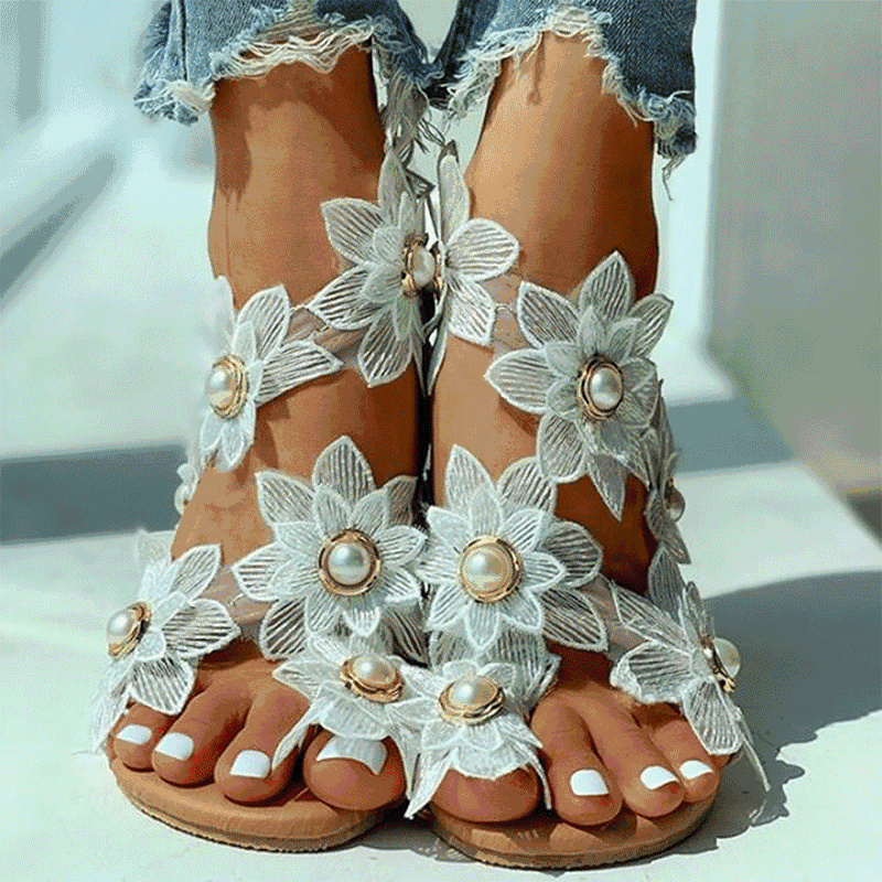 Image of Ladies Shoes Women Sandals Floral Flat Sandals Women Casual Beach Shoes For Woman