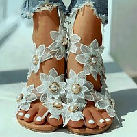 Ladies Shoes Women Sandals Floral Flat Sandals Women Casual Beach Shoes For Woman