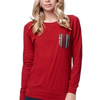 LA Hearts Crew Pullover Top - Womens Tee - Red