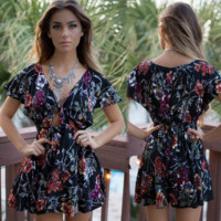 Sexy hollow out print dress with short sleeves in summer
