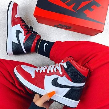 "Nike Air Jordan 1 WMNS ""Satin Snake""Basketball shoes"