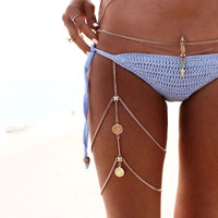 Retro Silver Thigh/Leg Body Chain-Beach Accessories