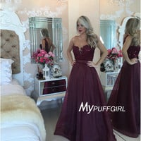 Dark Burgundy Illusion Sweetheart Tulle Beaded Prom Dress With Sheer Back