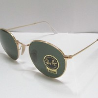 Cheap Ray-Ban Sunglasses 3447 001 50 GOLD / GREEN CLASSIC G-15 LENS ROUND UNISEX RETRO outlet