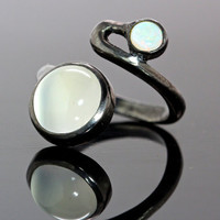 By Pass Ring Moonstone & Opal