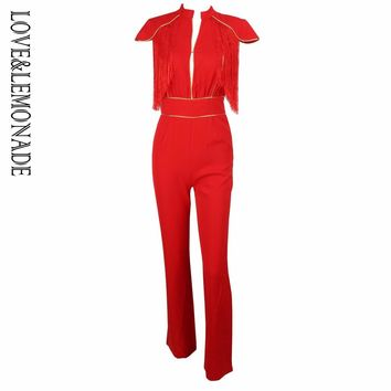 Love&Lemonade Sexy Red Cutout Tassel Decoration Gold Splicing Jumpsuit LM0605