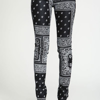 BANDANA COATED ZIP JEANS