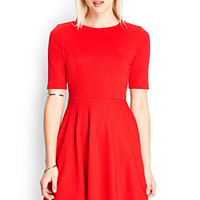 FOREVER 21 Textured A-Line Dress Red