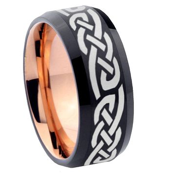 10mm Celtic Knot Infinity Love Bevel Tungsten Rose Gold Mens Wedding Band