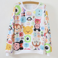 Multicolor Cartoon Pattern Long Sleeve Sweatshirt