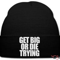 get rich or die trying_ beanie knit hat