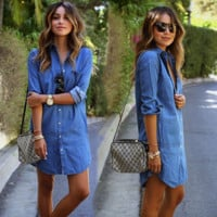 Solid Color Cardigan Long Sleeves Dress