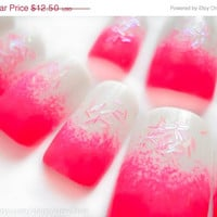 ON SALE Hot Pink Ombre Fake Nails with Glitter