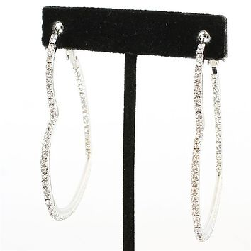 "2.50"" crystal metal heart hoop pierced earrings"