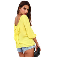 Top Selling Women's Clothing 2015 Summer Style Long Sleeve Vetement Femme Camisa Mujer Chiffon Women Blouse Bow Back Shirt