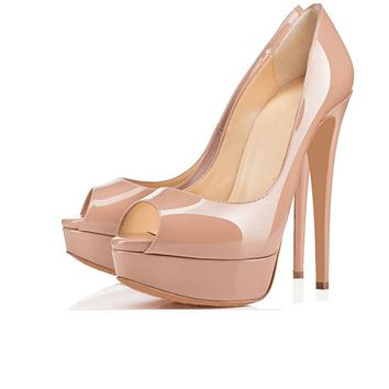 Super high heel platform fish mouth high heel patent leather sexy women's shoes sandals