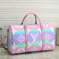 Louis Vuitton LV Women Men Luggage bag color cloud printing gradient duffel bag light purple pink
