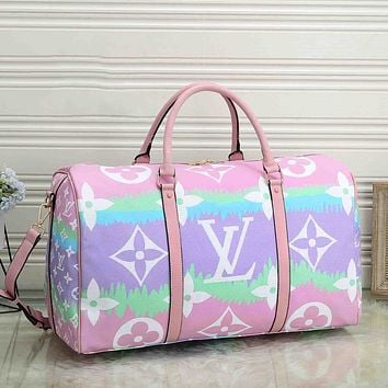 Inseva Louis Vuitton LV Women Men Luggage bag color cloud printing gradient duffel bag light purple pink