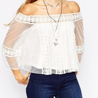 ASOS Top With Off Shoulder And Pretty Spot lace