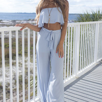 Two Way Street Lt. Blue Crop Top And Pant Set