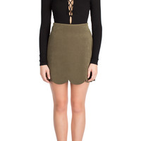 Olive Suede Scalloped Skirt-FINAL SALE